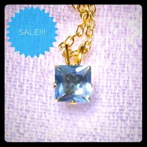 Jewelry - Necklace:🔥2/$20 Aquamarine CZ pendant & chain.